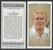 PLAYER'S 1934 CRICKETERS F.R.SANTALL Card No 25 of 50 CRICKET CIGARETTE CARD