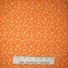 Calico Fabric - Bubbles & Butterflies Toss Orange - Lyndhurst OOP YARD