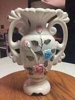 Taiwan Art Nuevo Vase W/ Raised Hand Painted Flowers And Leaves