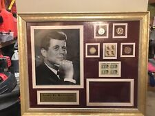 Framed John F Kennedy JFK coin stamp  1964 5 cent 13 cent half dollar free ship