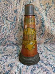 100% ORIGINAL EARLY SHELL SINGLE MOTOR OIL BOTTLE TIN TOP POURER WITH DUST CAP