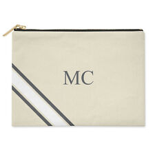 PERSONALISED MONOGRAMMED INITIALS STRIPED GREY & WHITE CANVAS CLUTCH BAG POUCH