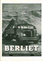 Publicité ancienne poids lourd Berliet 1951 issue de magazine