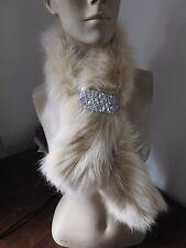 cream ivory genuine fox fur pelt collar scarf satin lining coat jacket