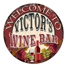 Cmwb-0084 Welcome to Victor'S Wine Bar Chic Tin Sign Man Cave Decor Gift