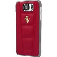 Ferrari 458 rojo emblema de oro Real Cuero Funda Rígida Delgada Fina Samsung Galaxy S6
