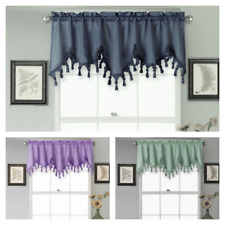 1Pc Wave Waterfall Valance Swag Window Curtain W/Tassel Trim Cascading Faux Silk