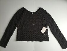 Free People Charcoal Gray Cable Knit Long Sleeve Sweater Top Size S ae38172c3