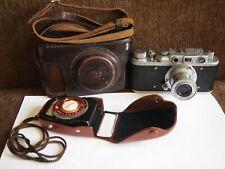 Rangefinder camera ZORKI-1 INDUSTAR-22 50mm f/3,5 + Leningrad-2 exposure meter