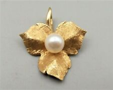 Vtg 14K Gold Cultured Pearl Pendant Textured Leaf Floral Ornate Estate