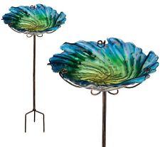 Glass Flower Birdbath Blue Green Garden Bird Feeder Ground Stake Regal ~Gift Box
