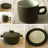 Denby Chevron Dinnerware Set Coffee Mugs Cups Saucers Soup Bowls with Lids Plate