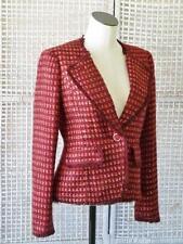 TORY BURCH Designer Artsy Plum Tweed Logo Button Victory Jacket Blazer~10~$495