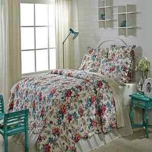 Isabella Queen Quilt 4 pc Bedding Red Teal Floral Pattern Quilt Shams Bedskirt