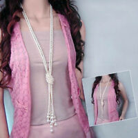 Elegant Pearl Tassel Chain Long Pendant Necklace Charms Sweater Jewelry Gift 2-