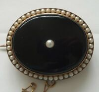 Victorian 15ct Gold Onyx and Seed Pearl Antique Locket Brooch