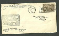 1929 Air Mail Cover Moncton First Maritime Air Pageant Royal Sterling Products