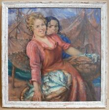 Fisher Lassies. Original Oil painting by listed Scottish artist Ken Center c1930