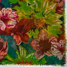 Tolani Wool/Silk Square Big Floral Scarf in Orange 5179