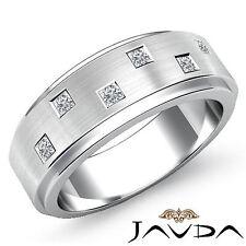 Bezel Set Diamond Mens Wedding Band Platinum Matt Finish Step Edge Ring 0.25Ct