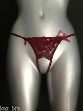 New Burgundy Lace Crotchless Thong One size Stretch lace open crotch crutchless