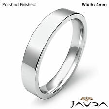 Platinum Flat Pipe Cut Comfort Fit Band Men Wedding Ring 4mm 8.9gm Size 11-11.75