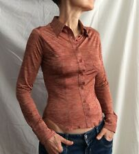 Vintage KAREN MILLEN Shirt Fitted Top Long-Sleeve Rust Button Front Sz8 VGC