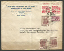More details for colombia. 1946. air mail cover to morocco. university bogota to rabat.