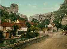 Cheddar. The Village and Lion Rock.  PZ vintage photochromie, photochrom photo