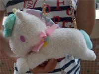 Sanrio Little Twin Stars Unicorn White Plush Wallet &Coin Purse& Mini Bag NEW