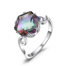 UNIQUE 3ct Feuer Regenbogen beschichtet Quarz Ring 925 Sterlingsilber