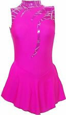 Skating Dress - Pink Hologram /Toffee Pink Lycra -N/S ALL SIZES AVAILABLE SO97h