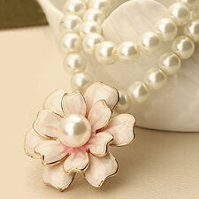 Fashion Pink Flower White Artificial Pearls Necklace Long Sweater Chain Charms