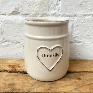 Ceramic Love Heart Kitchen Cutlery Caddy Utensil Storage Holder Dish Organiser