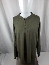 Men's Large Deep Green FieldMaster Henley Long Sleeve T-Shirt