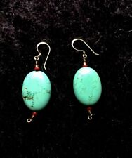 Sterling Silver Dangle Earrings Polished Oval Nugget Blue Turquoise