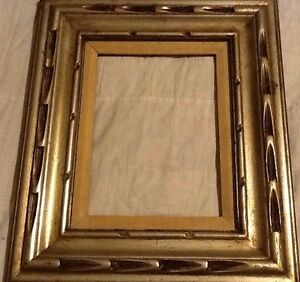 """Ornate Wood Gilded Frame MidCentury Spanish Colonial 4"""" Deep Cove Gold Fits 9x12"""