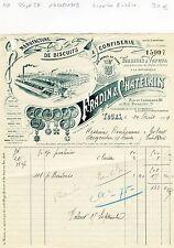 Dépt 37 - Tours - Superbe Entête Manufacture de Biscuits & Confiserie 14/08/1919