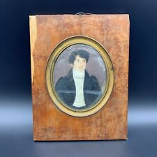 Antique French Victorian Oval Portrait Painting Rectangular Wood & Bronze Frame