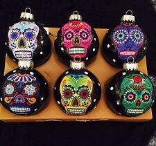 Sugar Skulls Decorated Glass Ball Christmas Ornaments - Set of 6