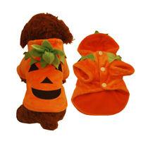FJ- CN_ Pumpkin Warm Pet Dog Cat Puppy Hoodie Halloween Costume Winter Clothes E