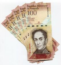 Venezuela P93 2013 100 Bolivares UNC Banknote Money x 5 Sequential Note Lot