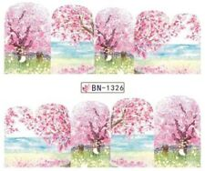 Nail Art Stickers Water Decals Transfers Pink Spring Blossoms (BN1326)