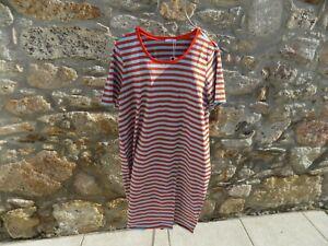 MARIMEKKO red/teal striped Beach/nightwear ARETTA  cotton jersey L BNWT