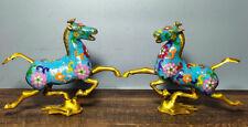 """7.4 """"cheval émail cloisonné chinois marchant paire statue d'hirondelle volante"""