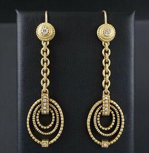 """Judith Ripka 18k Gold Diamond Open Dangle Earrings 2.5"""" Articulated 17g EG1632"""