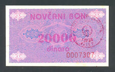 BOSNIA  20000 Dinara ND1992  aUNC  P52Ac  Handst. VITEZ   Scarce in high grade.