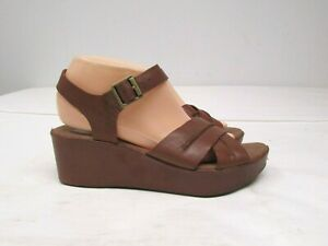 Gently Worn! KORK EASE Brown Leather Slingback Wedge Sandals  Shoes  40.5 / US 9