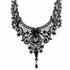 Black Gothic Victorian Lace Choker Necklace Metal Cameo Jewel Steampunk Cosplay