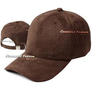 Suede Hat Baseball Cap Classic Strapback Adjustable Plain Blank Curved Visor Men